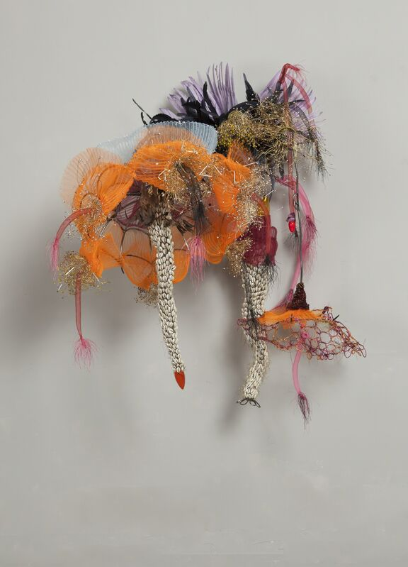 Rina Banerjee, 'Mangroves of Alien and Native froze and foamed, rose and rose, opened and closed and one in all grew calm who knew', 2014, Sculpture, Steel, plastic, nylon, light bulb, shell wire, cotton thread, feather, Ota Fine Arts