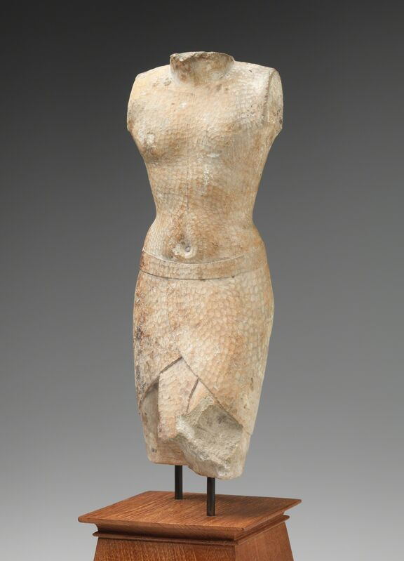 'Sculptor's model of a striding king', 305-250 BCE, Sculpture, Limestone, with traces of paint, RISD Museum
