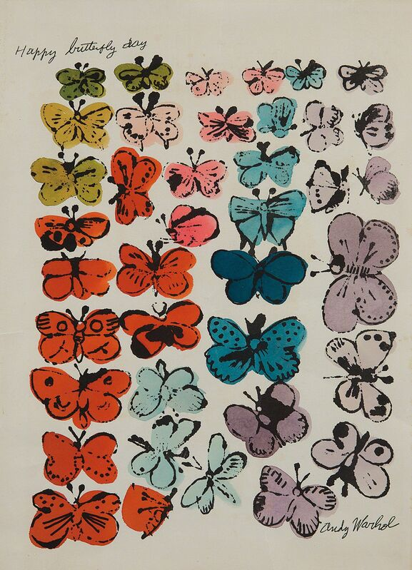 Andy Warhol, 'Happy Butterfly Day', 1955, Print, Offset lithograph with extensive hand-coloring in watercolor, on wove paper, with margins., Phillips