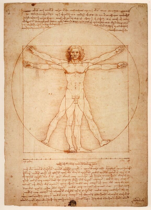 Leonardo da Vinci, 'Vitruvian Man', ca. 1409, Drawing, Collage or other Work on Paper, Ink, Art History 101