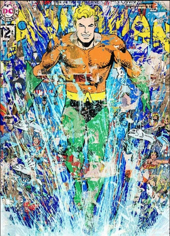 Mr. Brainwash, 'Aquaman', 2018, Print, 10 Color Screen Print on Archival with Deckled Edges, End to End Gallery