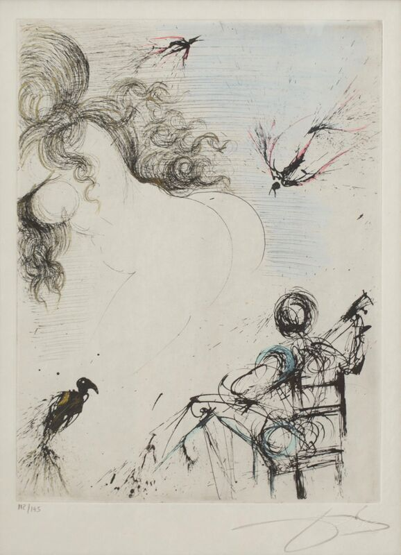 Salvador Dalí, 'Femme au Perroquet (Woman with parrot; from Peomes Secrets by Apollinaire)', 1967, Print, Hand watercolored etching with drypoint, printed on Japon paper, Rachael Cozad Fine Art