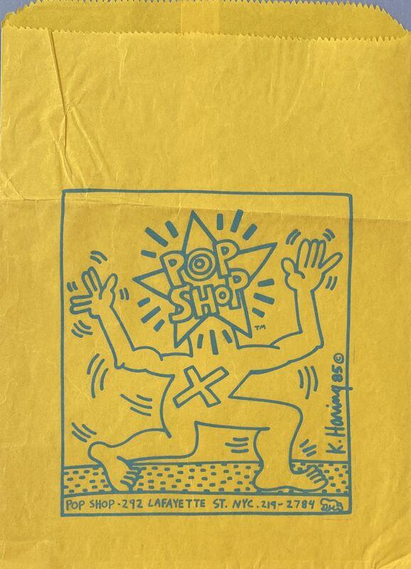 Keith Haring, 'Original 1980s Keith Haring Pop Shop bag', ca. 1985, Ephemera or Merchandise, Offset lithograph on paper Pop Shop bag, Lot 180