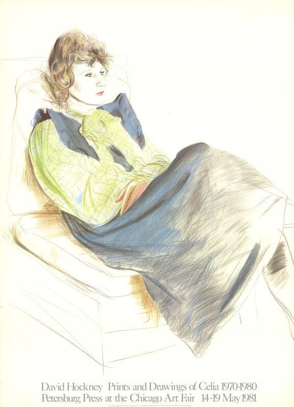 David Hockney, 'Celia Wearing Checkered Sleeves', 1981, Ephemera or Merchandise, Stone Lithograph, ArtWise