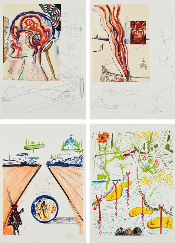 Salvador Dalí, 'Imaginations and Objects of the Future: four plates', 1975, Print, Four lithographs in colors, two with collage, on Rives paper, all with full margins and contained in their original wove paper folios with title and text by Dali (folded as issued), Phillips