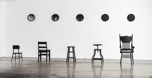 Denise Yaghmourian, '5 Clocks and 5 Chairs', 2018