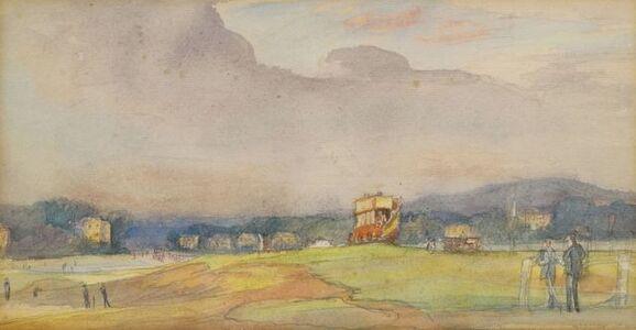 Francis Dodd, 'Bus by War Memorial, Blackheath'