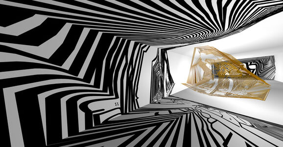 Peter Binz, 'Virtual sculpture with black shadows in a white room No.2', 2020