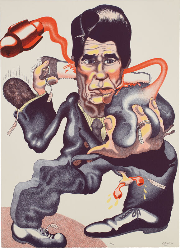 Peter Saul, 'Politics (L. P. p. 168, pl. 71)', 1985, Print, Lithograph in colors, on Rives BFK paper, the full sheet., Phillips