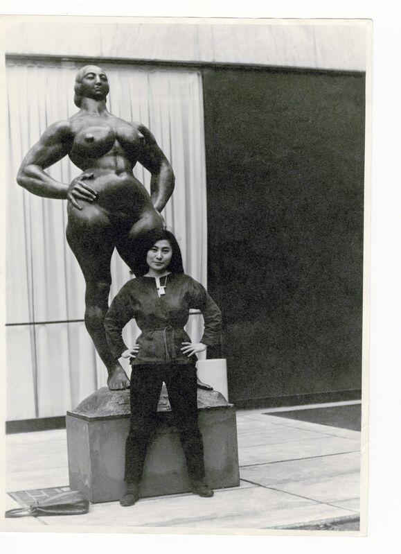 Minoru Niizuma, 'Yoko Ono with Standing Woman (1932) by Gaston Lachaise, The Museum of Modern Art Sculpture Garden, New York. c. 1960–61.', 1960-1961, Photography, The Museum of Modern Art