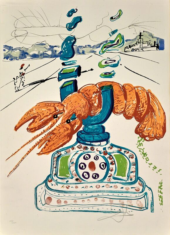 Salvador Dalí, 'Cybernetic Lobster Telephone (Imaginations and Objects of the Future)', 1975, Print, Hand-signed lithograph and etching, Martin Lawrence Galleries