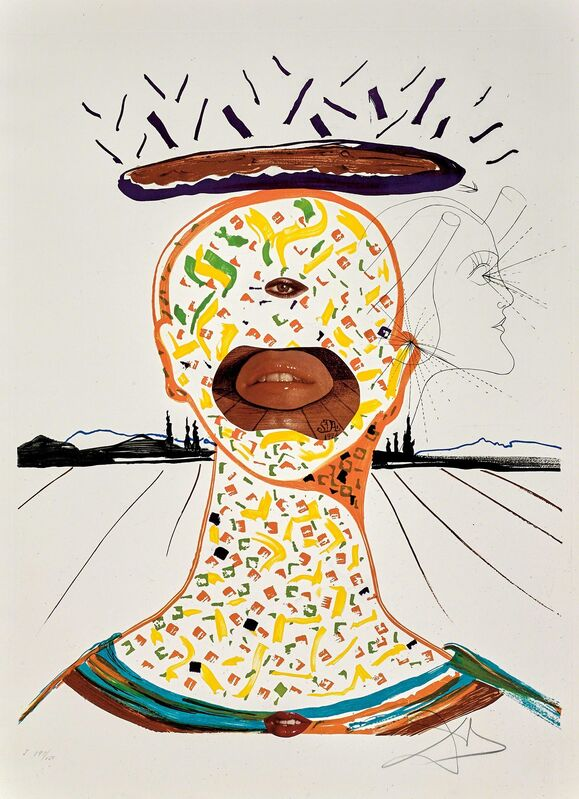 Salvador Dalí, 'Cyclopean Make-Up (Imaginations and Objects of the Future)', 1975, Print, Hand-signed lithograph and etching with collage, Martin Lawrence Galleries