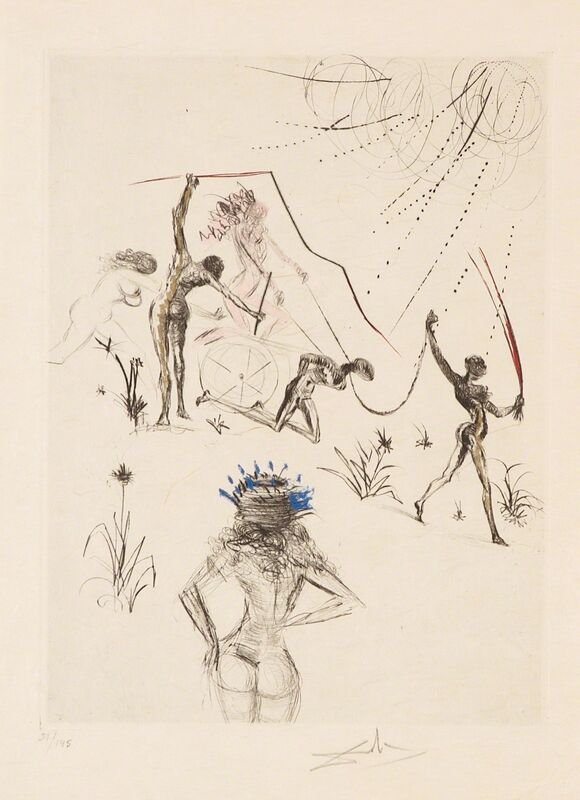 Salvador Dalí, 'Negresses (Venus in Furs)', 1969, Print, Hand-signed drypoint on Japon with watercolor, Martin Lawrence Galleries