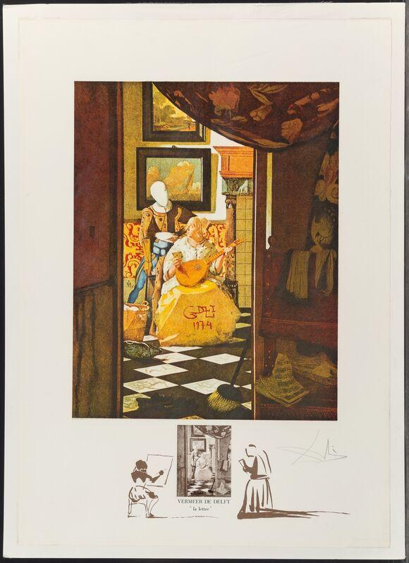 "Salvador Dalí, 'Vermeer ""La lettre""', 1974, Print, Lithograph in colors on Rives BFK paper, Heritage Auctions"