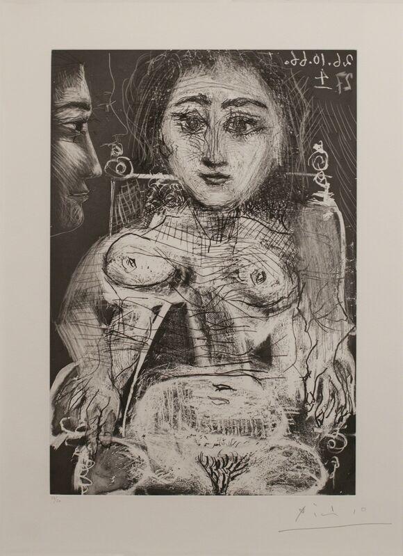 Pablo Picasso, 'Femme assise dans un fauteuil [Portrait of Jacqueline au fauteuil]', 1966, Print, Aquatint, etching, grattoir, and drypoint, Marlborough New York