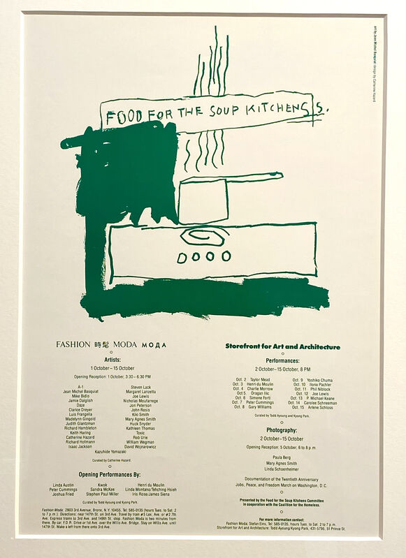 Jean-Michel Basquiat, 'Food For Soup Kitchens', 1983, Posters, Vintage Exhibition Announcement offset lithograph, Woodward Gallery
