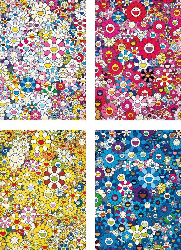 Takashi Murakami, 'An Homage to Yves Klein, Multicolor C; An Homage to Monopink 1960 C; An Homage to Monogold 1960 C; and An Homage to IKB 1957 C', 2012, Print, Four offset lithographs in colours, on smooth wove paper, the full sheets, Phillips