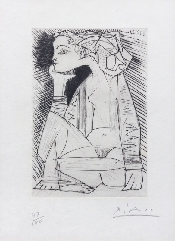 Pablo Picasso, 'Femme assise en tailler: Geneviève Laport (from Recordant el Doctor Reventós)', 1951, Print, Etching and drypoint, Hindman