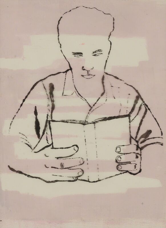 Andy Warhol, 'Man Reading', 1950-51, Drawing, Collage or other Work on Paper, Ink on acetate with watercolor on support, Doyle