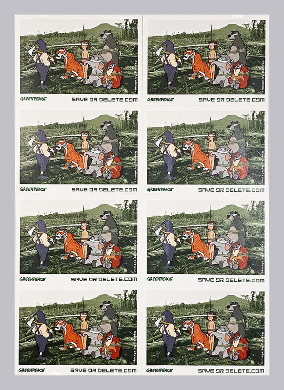 Banksy, ''Save or Delete' Greenpeace Campaign Decal (Full Sheet)', 2002, Ephemera or Merchandise, Screen print on adhesive paper, divided into 8., Signari Gallery