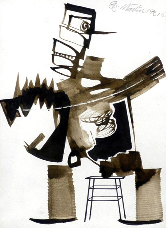 Eugene James Martin, 'Taxidermist', 1981, Drawing, Collage or other Work on Paper, Ink and bamboo reed stick pen, Eugene Martin Estate