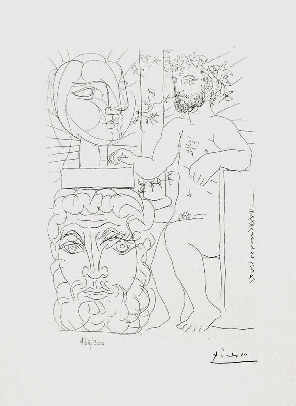 Pablo Picasso, 'Seated Sculptor & Two Sculptured Heads', 1990, Reproduction, Lithograph on wove paper, Art Commerce