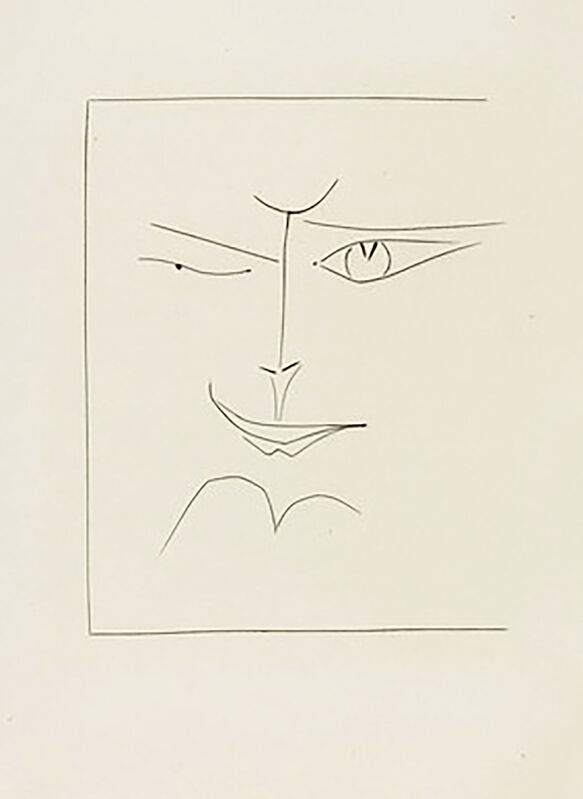 Pablo Picasso, 'Square Face Smirking (Plate XXX)', 1949, Print, Original etching on Montval wove paper, Georgetown Frame Shoppe