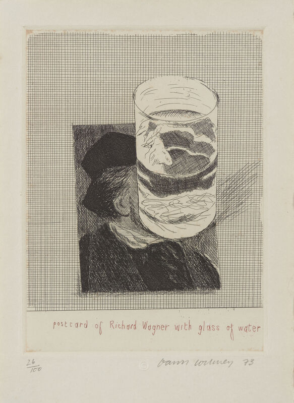 David Hockney, 'Postcard of Richard Wagner with a Glass of Water [SAC 154]', 1973, Print, Etching in colours on Crisbrook wove, Roseberys