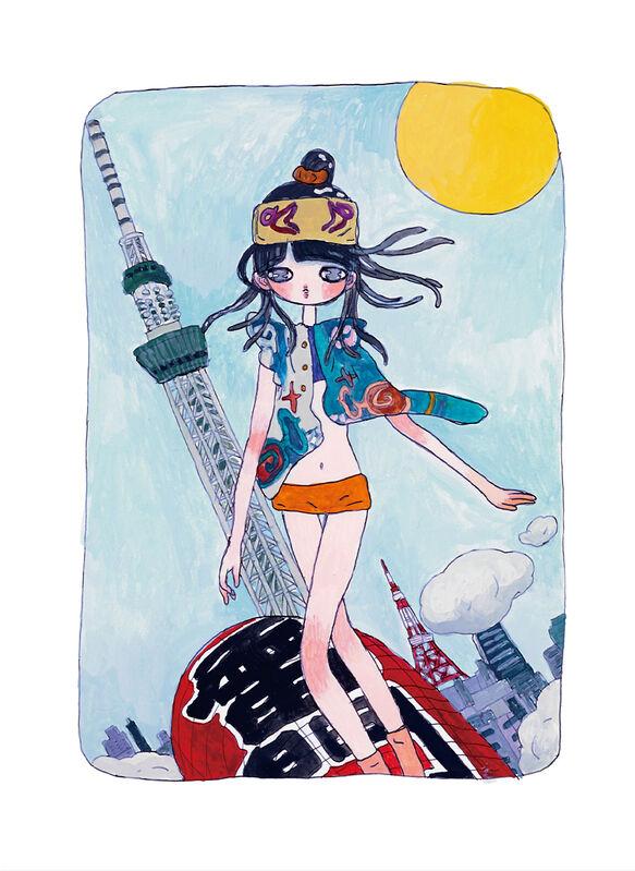 Aya Takano, 'She's Coming, Riding the Kaminari-mon Lantern', 2020, Print, Archival Pigment Print + Silkscreen, Pinto Gallery