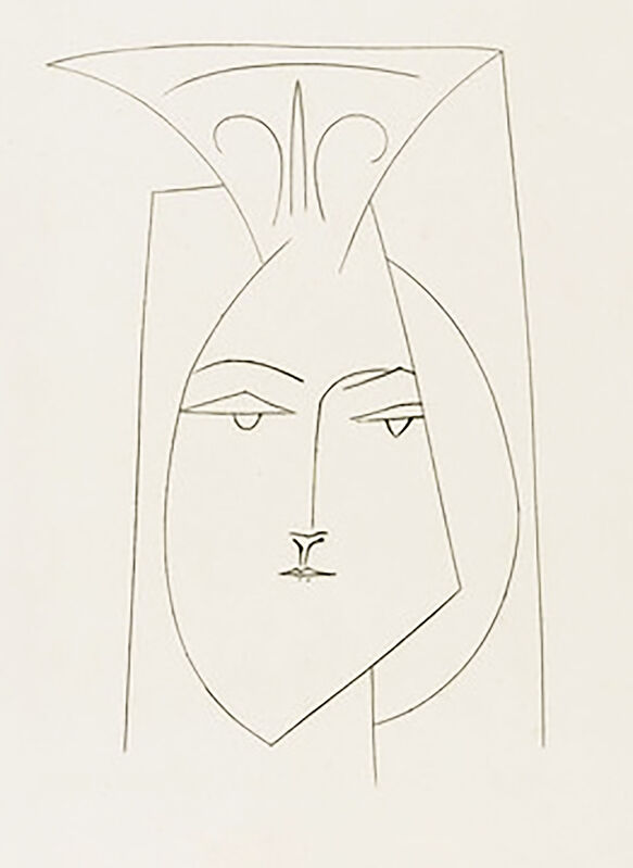 Pablo Picasso, 'Head of a Woman with Mantilla (Plate I)', 1949, Print, Original etching on Montval wove paper, Georgetown Frame Shoppe