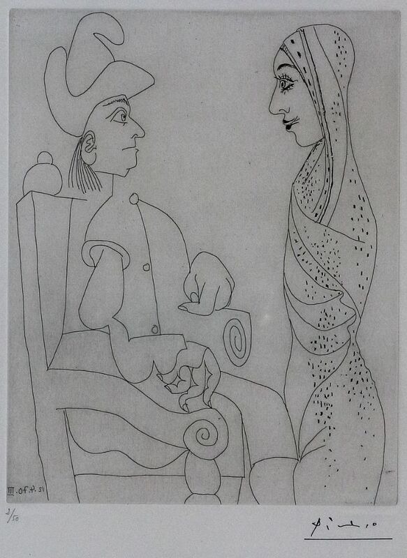 Pablo Picasso, 'Conquistador et femme marocaine 12 Avril 1970 III', 1978, Print, Etching on wove paper, Samhart Gallery
