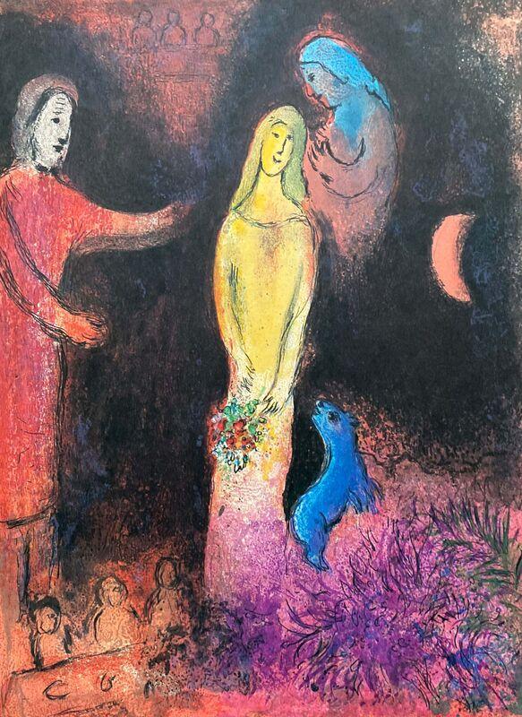 "Marc Chagall, '""Chloé vétue et coiffée par Cléariste (Chloe is dressed and braided by Cleariste),"" from Daphnis et Chloé (Cramer 46; Mourlot 345)', 1977, Print, Offset lithograph on wove paper, Art Commerce"