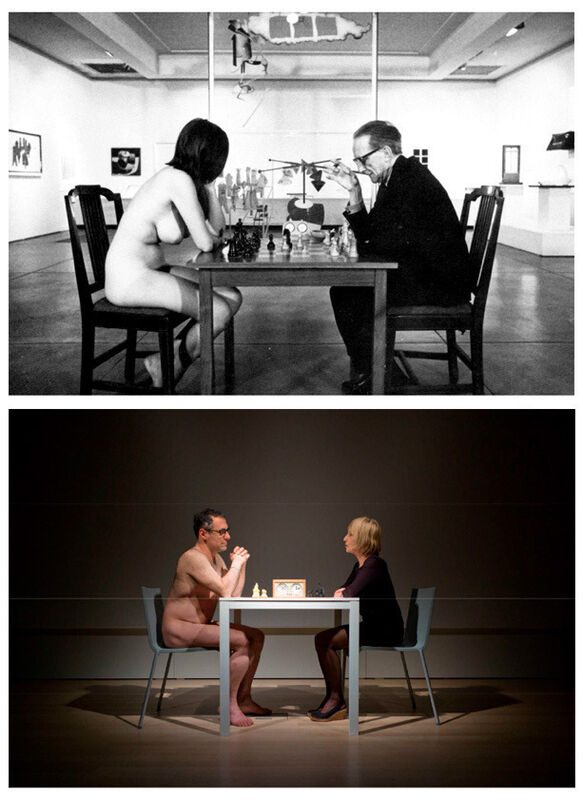 Sanja Iveković, 'Eve's Game with Enrico Lunghi (Mudam, Luxemburg)', 2011, Photography, Diptych. Digital b&w inkjet print & digital color inkjet print. Audio: 19'37'', espaivisor - Galería Visor