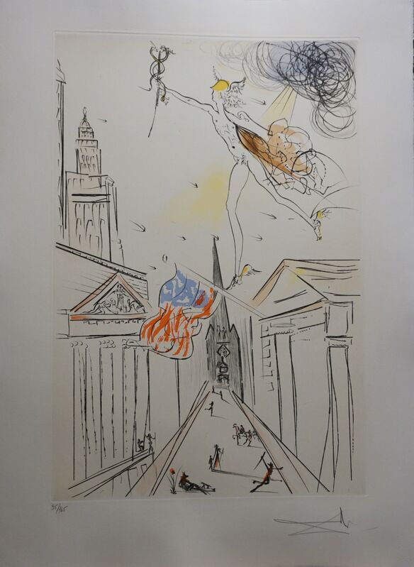 Salvador Dalí, 'View of Wall Street )Color)', 1972, Print, Etching, Fine Art Acquisitions Dali