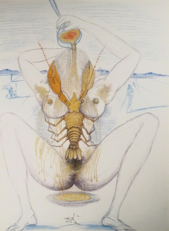 Salvador Dalí, 'Nude and Lobster', 1967, Print, Drypoint with added color, DTR Modern Galleries