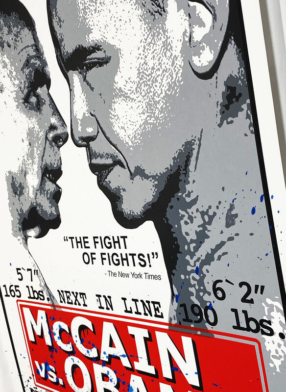 Mr. Brainwash, ''Obama vs. McCain' Hand-Finished Print', 2008, Print, 5-color screen-print on hand torn archival art paper. Hand-finished in blue splatter., Signari Gallery