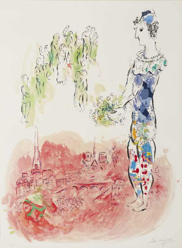 Marc Chagall, 'The Magician of Paris II', 1969-1970, Print, Color lithograph on Arches paper under glass, John Moran Auctioneers