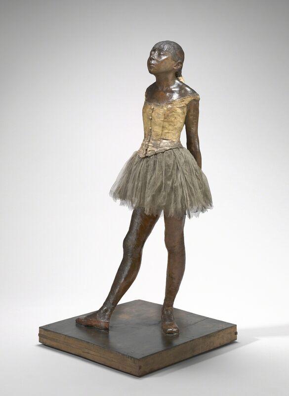 Edgar Degas, 'Little Dancer Aged Fourteen', 1878-1881, Sculpture, Yellow wax, hair, ribbon, linen bodice, satin shoes, muslin tutu, wood base, National Gallery of Art, Washington, D.C.