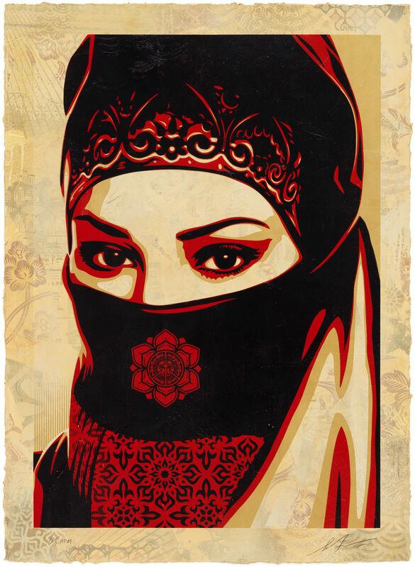 Shepard Fairey, 'Universal Personhood 3, HPM', 2015, Print, Silkscreen on hand-painted material, Pace Prints