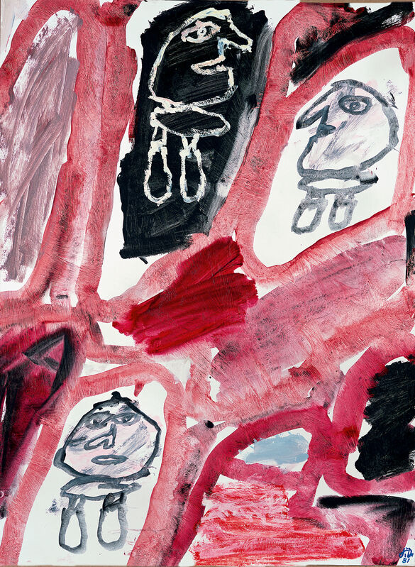 Jean Dubuffet, 'Site avec 3 personnages (E 305) 14 septembre 1981', 1981, Painting, Acrylic on paper laid on canvas, Opera Gallery