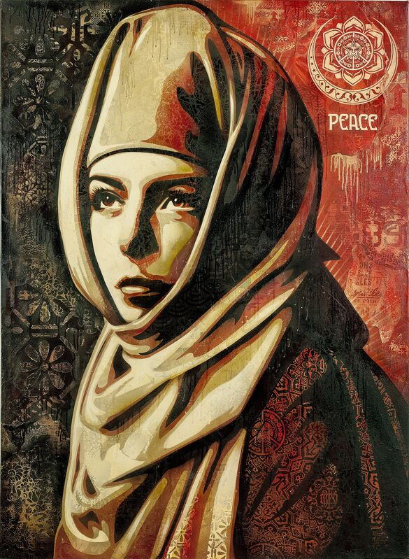 Shepard Fairey, 'Universal Personhood', 2013, Painting, Mixed media (stencil, silkscreen and collage) on canvas. Framed, Paul Stolper Gallery