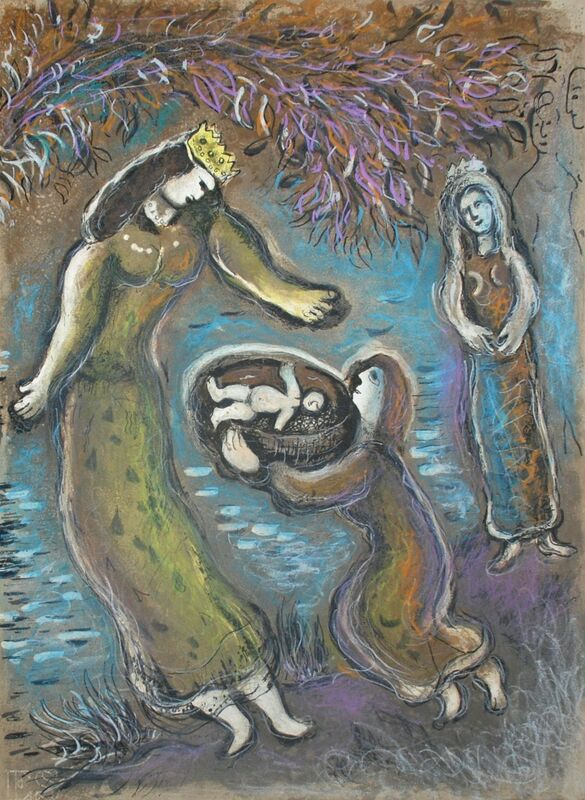 Marc Chagall, 'Pharaoh's Daughter and Moses, The Story Of The Exodus', 1966, Print, Original Lithograph, Inviere Gallery