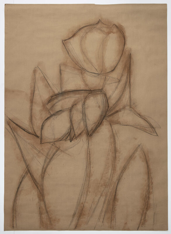 Alex Katz, 'Purple Tulips 2', 2020, Drawing, Collage or other Work on Paper, Charcoal and red chalk on paper, Gladstone Gallery