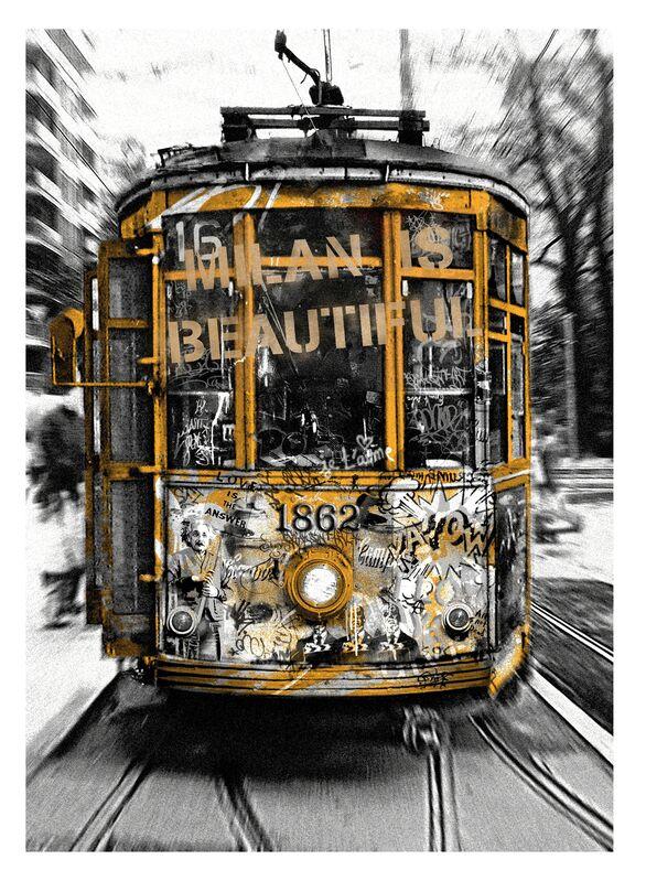 Mr. Brainwash, 'Milan is Beautiful - Tram Gold', 2019, Print, Retouchè on paper, Deodato Arte