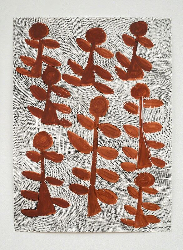 Nyapanyapa Yunupingu, 'Djorra (paper) 12', 2014, Drawing, Collage or other Work on Paper, Felt tip pen, earth pigments on discarded print proofs, Roslyn Oxley9 Gallery