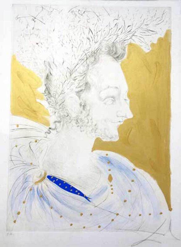 Salvador Dalí, 'Der Dichterfürst - Bildnis des Ronsard', 1968, Print, Colored etching on japon paper, Galerie Kellermann