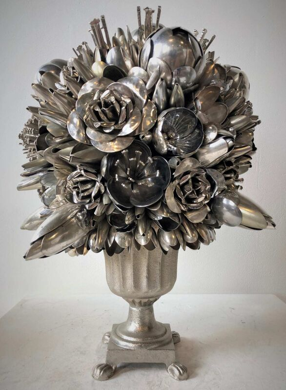Ann Carrington, 'Belladonna', ca. 2020, Sculpture, Silver, steel and nickel plated spoons, The Drang Gallery
