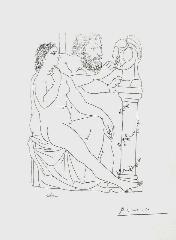 Pablo Picasso, 'Seated Model & Sculptor Studying Head', 1990, Reproduction, Lithograph on wove paper, Art Commerce