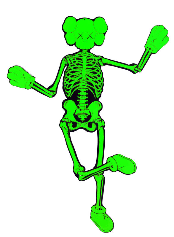 KAWS, 'Green Companion Skeleton', 2007, Sculpture, Screenprint on cardboard with metal rivets, EHC Fine Art
