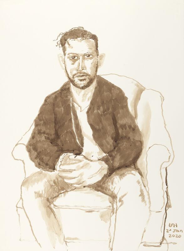David Hockney, 'Benedikt Taschen, Jr., 2nd Jan 2020', 2020, Drawing, Collage or other Work on Paper, Ink on paper, Annely Juda Fine Art